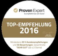 Proven Expert: 100% Kundenempfehlung, Topdienstleister 2016